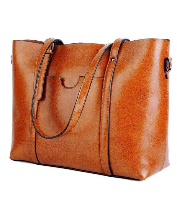 b7302e19c680 Women's Vintage Style Soft Leather Work Tote Large Shoulder Bag - 1 ...