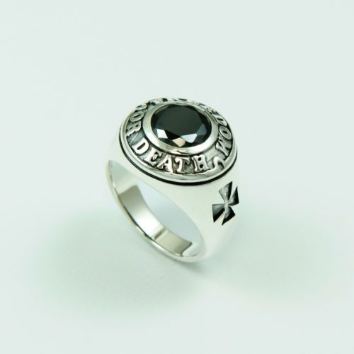 FREEDOM or DEATH ONXY 925 STERLING SILVER US Size 10.25 BIKER ROCKER GOTHIC RING