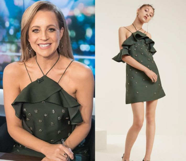 by Kirsty0 Comments Carrie Bickmore wears this green embellished halter neck mini dress in this episode of The Project on Thursday October 19th, 2017. It is the C/Meo Collactive Assemble Dress.