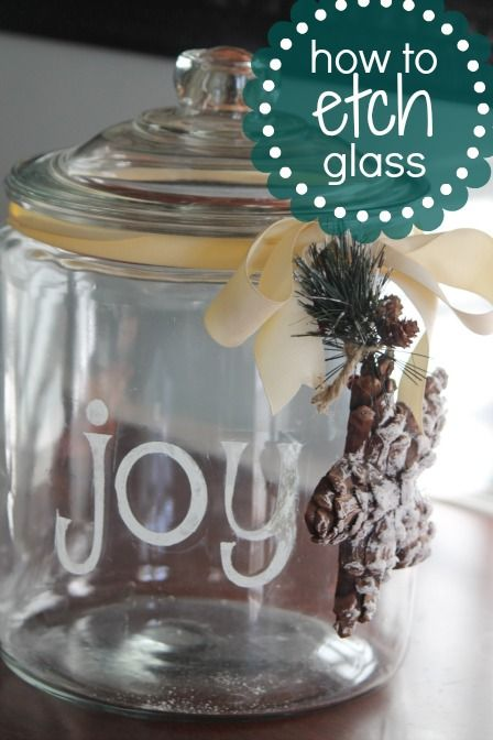 Learn how to etch glass, then fill it with baking supplies for your favorite cookie recipe and give as a gift this Christmas - great frugal gift idea!