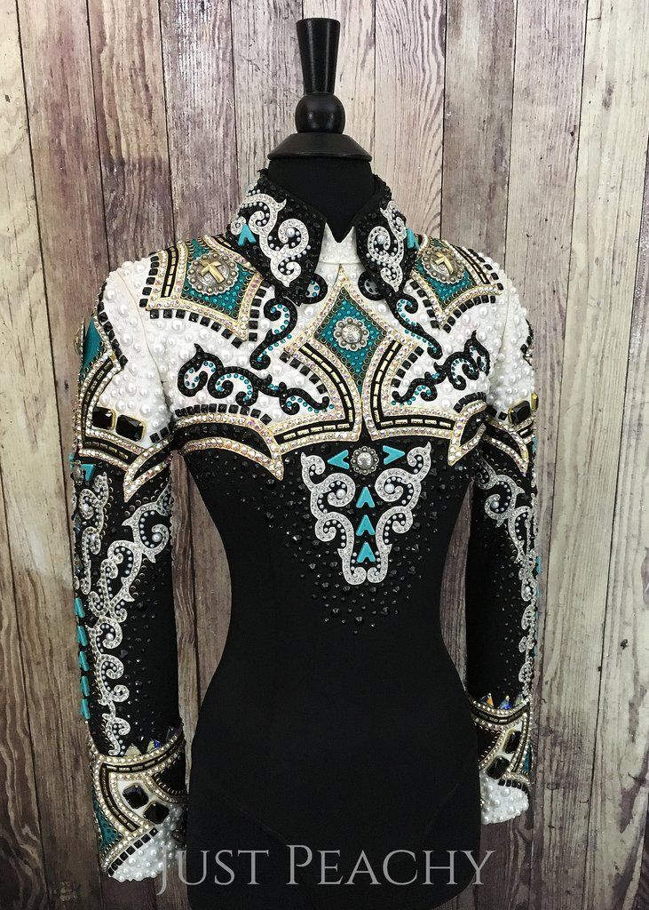 "Gently used western horsemanship shirt by Lindsey James Show ClothingApprox Ladies XS with lots of stretchItem # 6984Bust: 34""Waist: 28""Shoulder..."