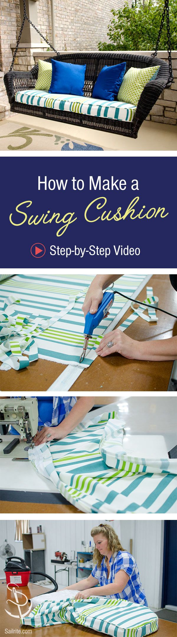 Learn how to sew a box cushion perfect for your porch swing in this step-by-step video tutorial!