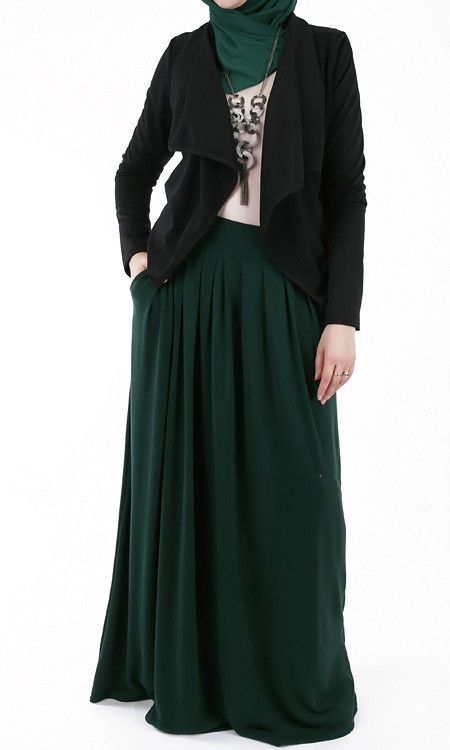 Bottle Green Long Jersey Maxi Abaya Skirt – Rashida Amin - Islamic Clothing, Abaya, Jilbabs, Hijabs