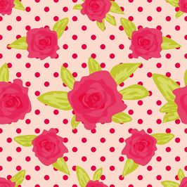 Romantic Background With Large Roses on a Pink Background With Pink Polka Dot. by Anna Seamless Repeat Vector Royalty-Free Stock Pattern