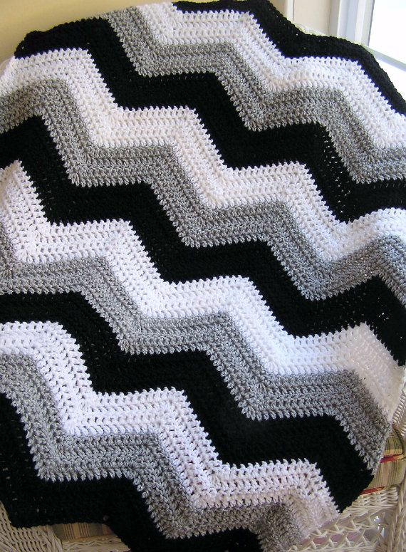 chevron zig zag baby blanket afghan wrap crochet knit lap robe wheelchair ripple stripes LION brand VANNA yarn black grey white handmade USA on Etsy, $75.00