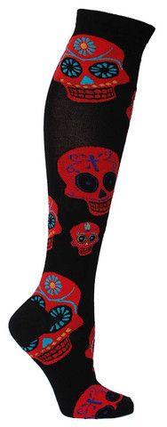 Black knee high length socks with large red Dia de los Muertos skulls. Fits women's shoe size 5-10.
