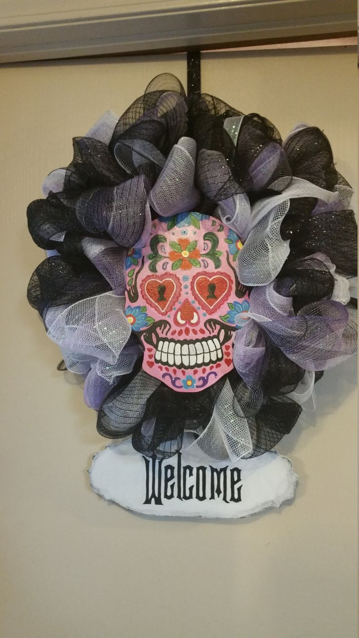 Day of the dead sugar skull welcome wreath by ...