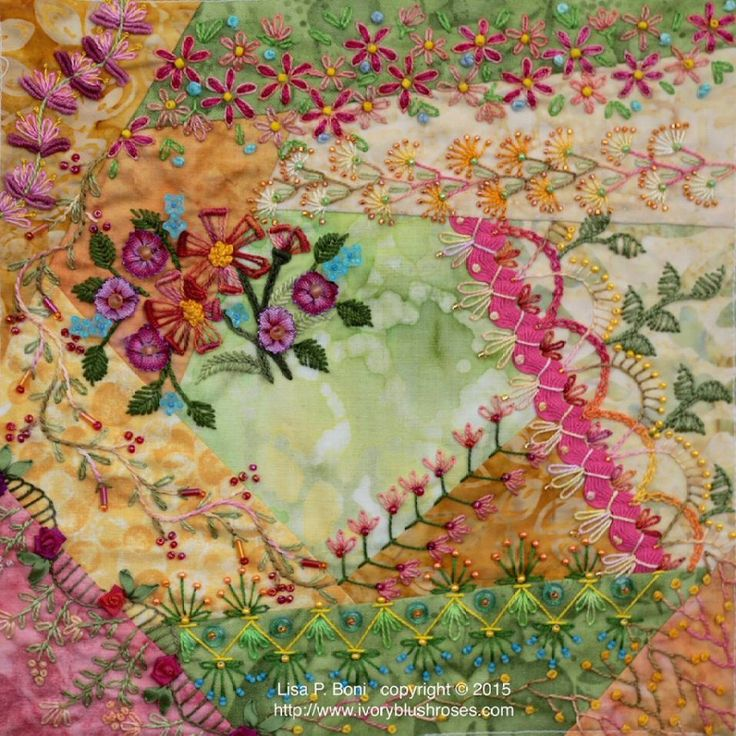 I ❤ crazy quilting, beading & embroidery . . . Finally finished my February CQJP2015 block ~By Lisa Plooster Boni, ivoryblushroses