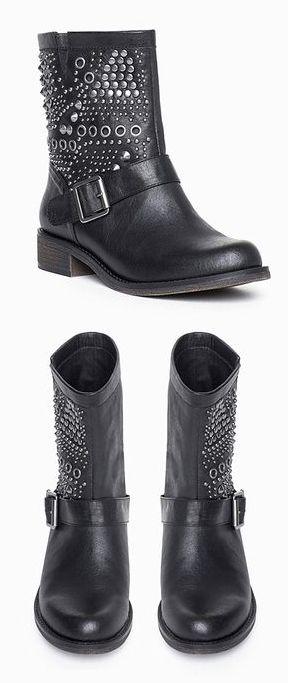 Black Studded / Embellished Moto Boots!