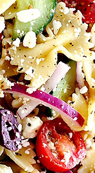 Mediterranean Pasta Salad - quick and easy to make, it's tossed with a zesty lemon-herb vinaigrette ❊
