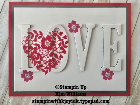 Stampin Up Bloomin Love stamp set. Eclipse Technique card. Large Letters framelits work perfectly to make the eclipse card technique. Kim Williams, Stampinwithkjoyink.typepad.com. Pink Pineapple Paper Crafts. Valentine card ideas. Valentine crafts. Rubber Stamps