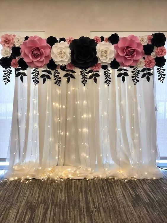 DIY Sheer Curtain Backdrop with String Lights
