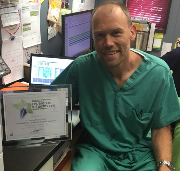 Dr. Barnett receives highly prestigious Overall Quality of Doctor Care award.   Last month Asheville Orthopaedic Associates very own Dr. Marc Barnett picked up the highly prestigious 2016 Overall Quality of Doctor Care Award at the annual Professional Research Consultants (PRC) National Excellence in Healthcare awards.