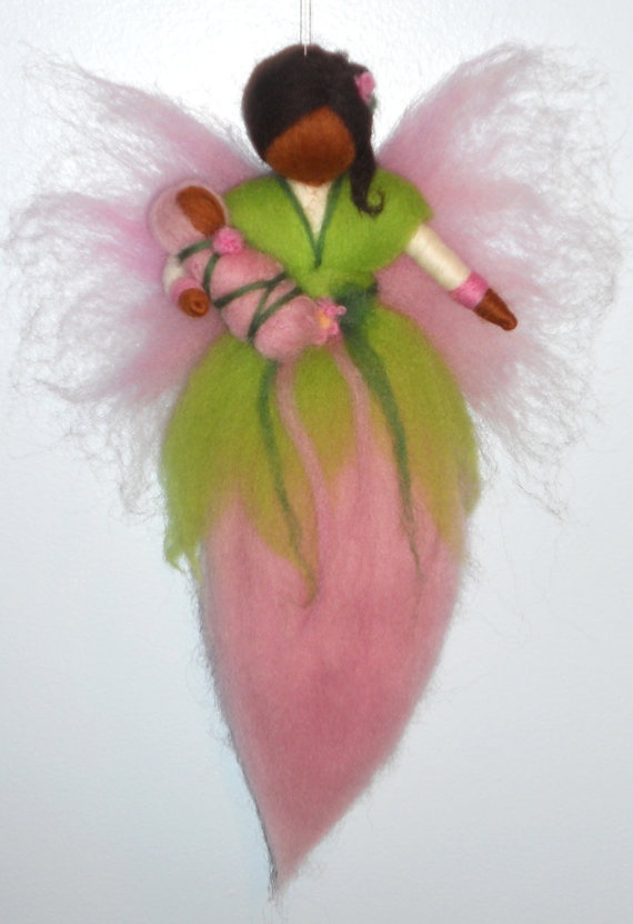 Pink and green angel ornament