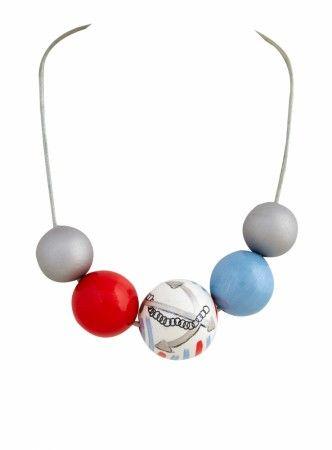 Baboon yewellery#light blue#silver#wooden balls#handmade yewellery#necklace