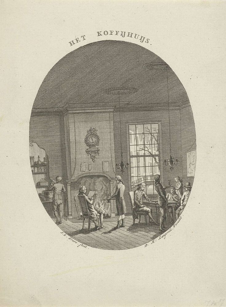 Jan Evert Grave   Koffiehuis, Jan Evert Grave, Dirk Meland Langeveld, c. 1769 - c. 1805   Het interieur van een koffiehuis in een ovale lijst. In een kamer met open haard staan en zitten verschillende mannen. De mannen roken, lezen de krant of drinken.