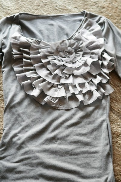 diy spiral ruffle shirt. Might try this