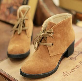 Women autumn winter new fashion short martin boots thick 6cm high-heeled scrub lace-up casual shoes large plus size 40-43
