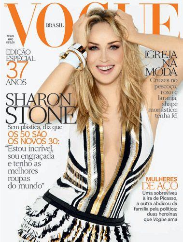 Sharon Stone toda trabalhada no Photoshop na capa da Vogue Brasil