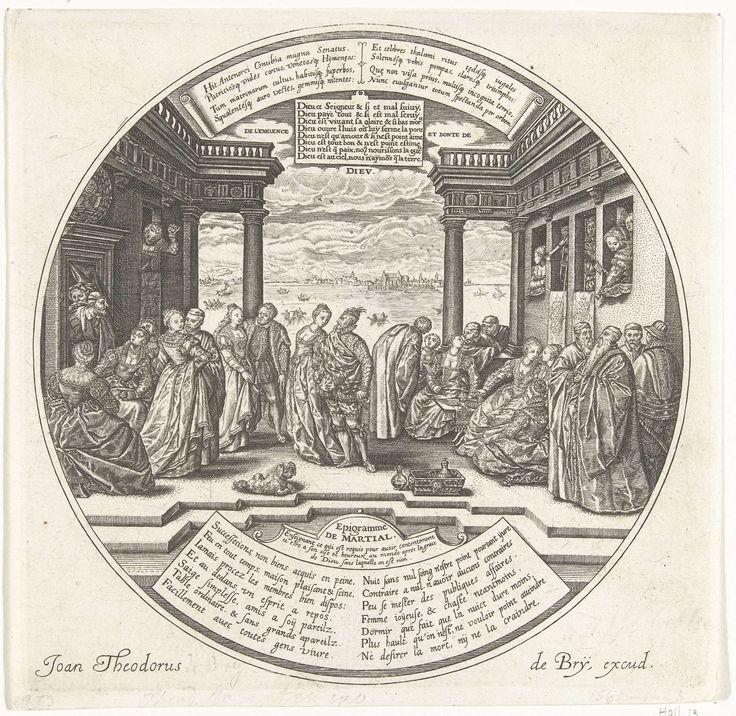 Johann Theodor de Bry | Het Venetiaanse Bal of de bruiloft van Antenor, Johann Theodor de Bry, Hendrick Goltzius, Hendrick Goltzius, after 1584 - before 1623 | In een zaal met uitzicht op de zee vindt een bruiloft plaats. De gasten zijn elegant gekleed. Rechts zitten in een loge de muzikanten. Drie paren dansen. De overige gasten zitten langs de zijwanden van de kamer. Met opschriften in het Latijn en Frans, waaronder een verwijzing naar de Epigrammen van Martialis.