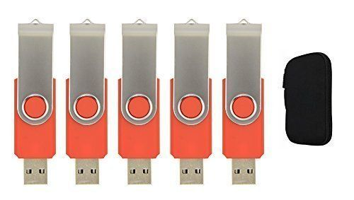 FEBNISCTE Pack of 5 Swivel Red 8GB Flash Disk  USB Carrying Portable Case for Protection -- You can find more details by visiting the image link.