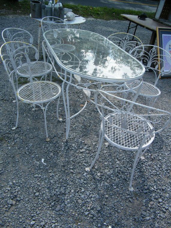 salterini wrought iron furniture. items similar to salterini wrought iron garden set table and six chairs banana leaf pattern mesh seats on etsy furniture