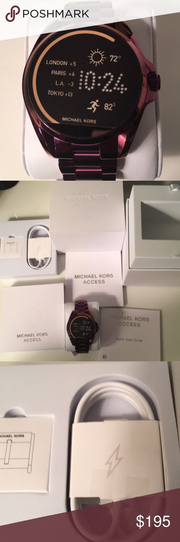 Michael Kors access watch. Micheal Kors access watch. Plum tone hardware. Digital face. Compatible with Android or iPhone. Brand new never used. Come with charging cord never opened. The back the clasp and the face of the watch are still in plastic as shown. Michael Kors Accessories Watches