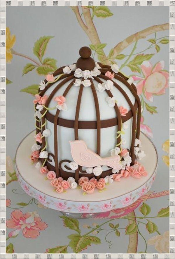 Kuş kafesi görünümlü pasta
