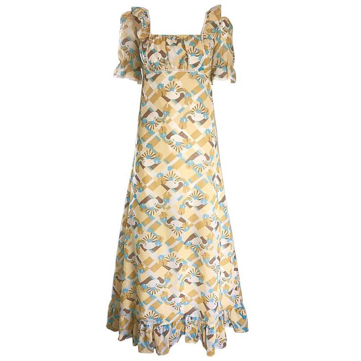 1970s Swan Print Novelty Cotton Boho Vintage 70s Blue and Yellow Maxi Dress  | From a collection of rare vintage day dresses at https://www.1stdibs.com/fashion/clothing/day-dresses/
