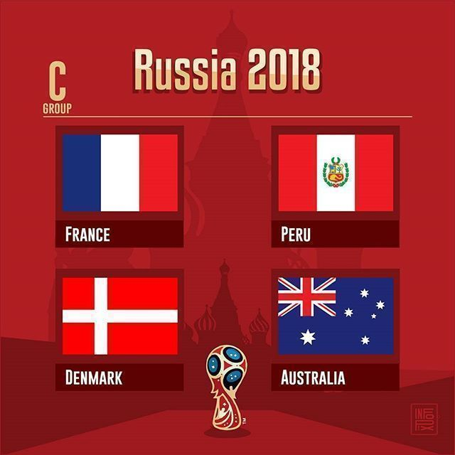Russia 2018  Group C .  #GroupB #WorldCup #Russia2018 #France #FRA #Peru #Perú #PER #Denmark #DEN #Australia #AUS #Moscow #Sochi #Kazan #Luzhniki #Samara #Ekaterinburg .  Source #FIFA and Wiki .  #countries #maps #map #flags #flag #infographic #football #soccer #travels #forpix #inforpx .  Design @mmcasimiro  Follow @inforpx @forpixdesign #soccerinfographic