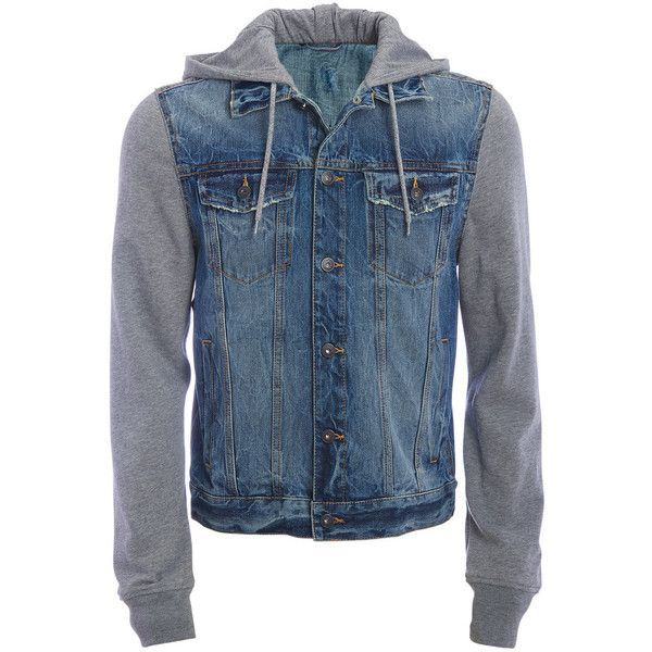 Aeropostale Pieced Denim Jacket ($28) ❤ liked on Polyvore featuring men's fashion, men's clothing, men's outerwear, men's jackets, indigo sea, mens hooded denim jacket, mens hooded jackets, mens distressed leather jacket, aeropostale mens jackets and mens hooded jean jacket