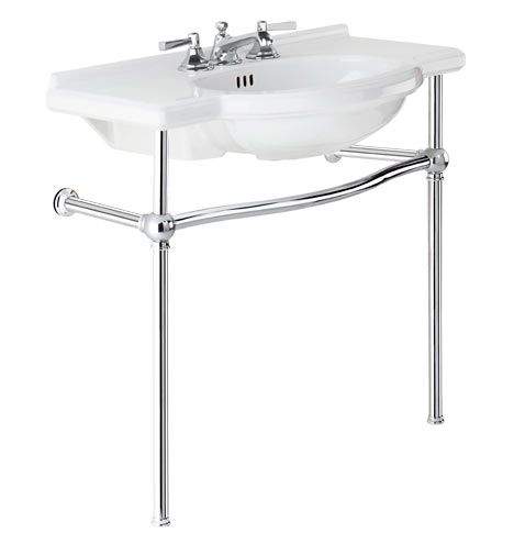 Sink console polished chrome porcelain with polished chrome legs