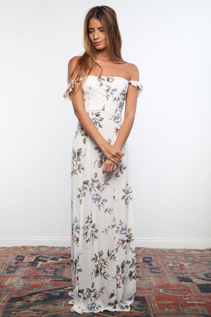 Flynn Skye Bardot Maxi Dress in White Rose