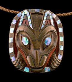 Bill Reid Wolf Pendant  1977 Yew wood, haliotis shell, paint, copper tubing, gold, leather thong