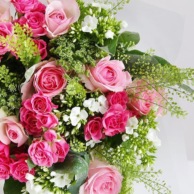 Featuring Pink Sorbet Avalanche Roses Cerise Spray Roses White Phlox And Green Bell This Delicate Bouq Online Flower Shop Beautiful Flowers Floral Arrangements