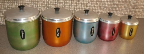 SET OF 5 Retro Anodised Aluminium Canisters | eBay