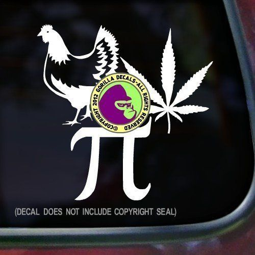 CHICKEN POT PIE Vinyl Decal Sticker A. Decal in vinyl with a Chicken and Pot Leaf and Pi Symbol.