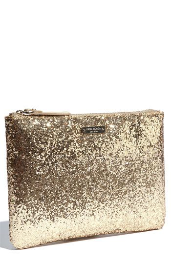clutch...: Glitter Clutches, Kate Spade Makeup Bags, Purse, Kate Spade Clutches, Gold Sequins, Sparkle Clutches, Gold Clutches, New York, York Sparklers
