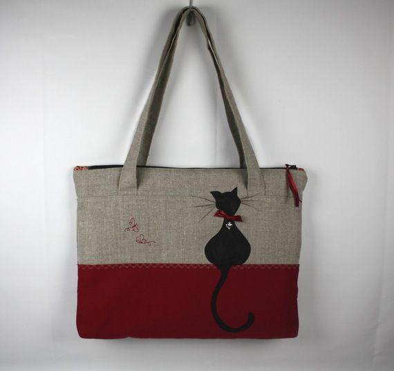Sac porte documents  chat papillon en lin et coton rouge