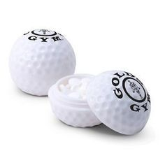 Love these golf ball mint containers - inside are golf ball mints! The mints are so cute and really look like mini golf balls. Mints are USA made and Kosher certified. #tradeshow giveaways