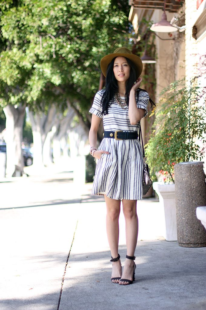 Perfect spring look. Dress from madewell. Stripes, floppy hat, cute belt. love!