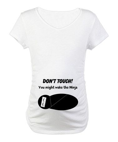 Take a look at this White Sleeping Ninja Maternity Tee by Baby on the Way: Maternity Tees on @zulily today!