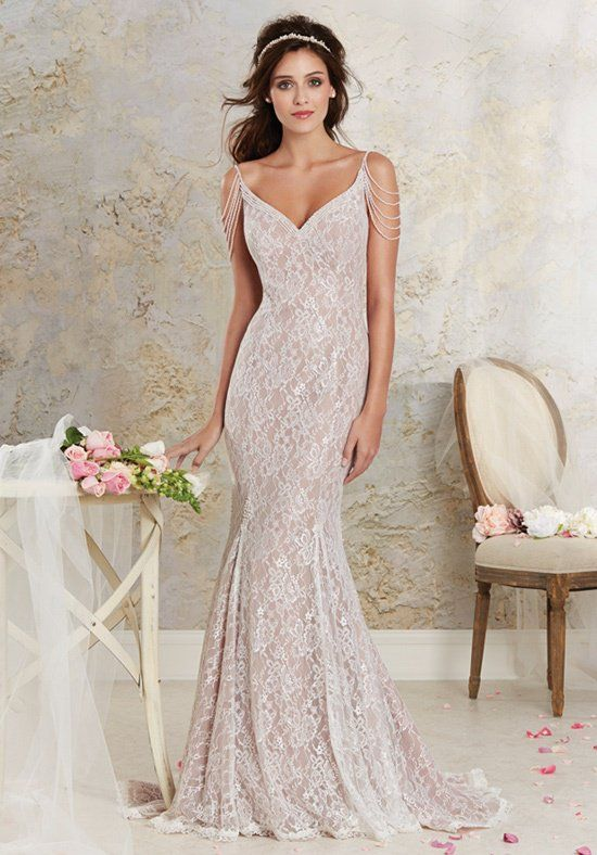 All-over lace and a godet skirt add drama to this modern vintage wedding gown. A pearl beaded, sweetheart neckline and off-the-shoulder pearl straps balance each other and add glamor.