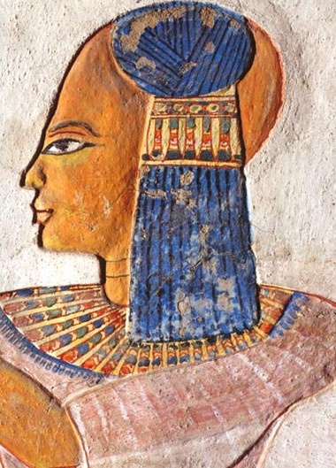 Ancient Egyptian: Lock of Youth, indicative of child's royal standing; beaded collar.