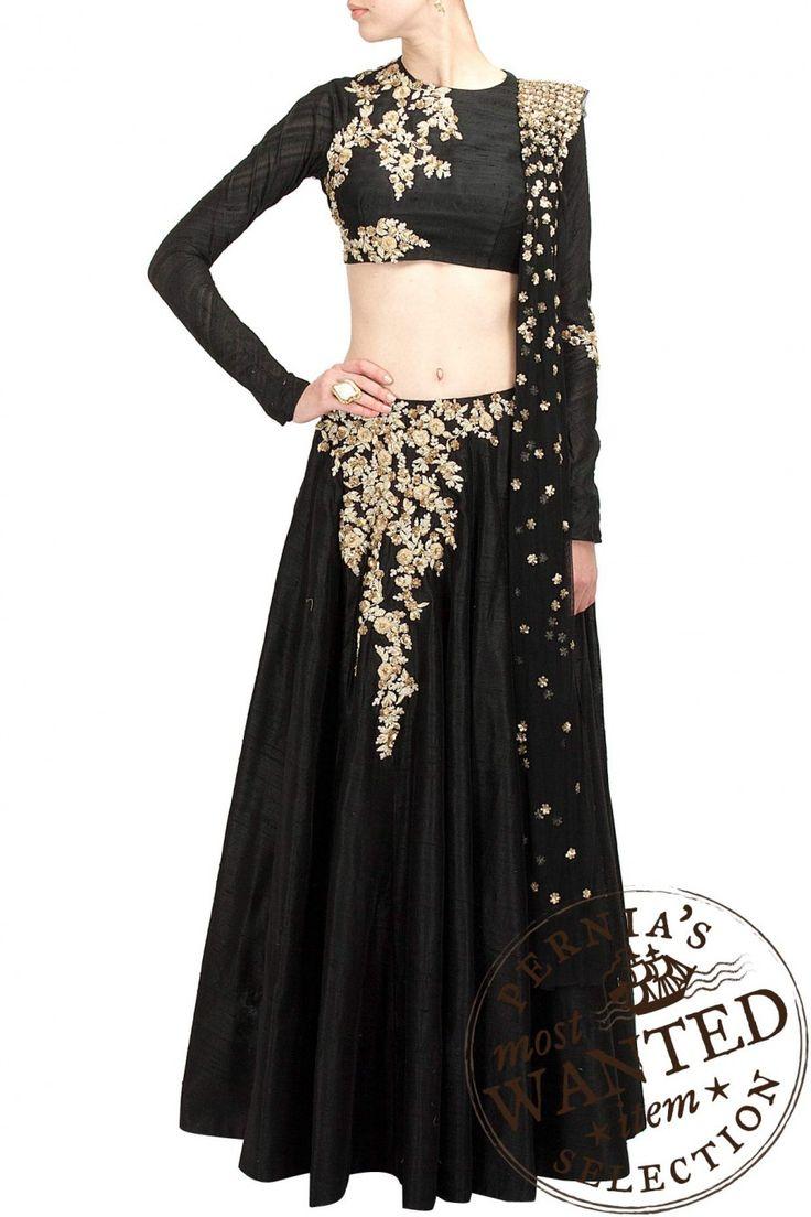 Ridhi Mehra-Black raw silk lehenga with floral pattern embellishments around waist