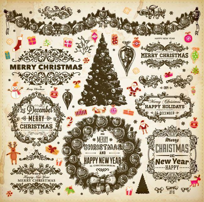 Ornamental Christmas vector decorative elements