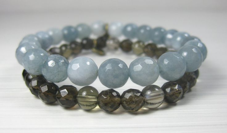 Clarity ~ Faceted Montana Jade & Faceted Smokey Quartz 2-stack bracelets with tiny heart charms ~ Clarity + Wisdom ~ by pinksunmalas on Etsy