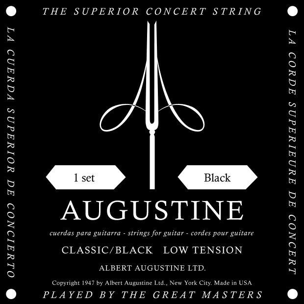 Augustine Concert Classic Black - Jeu de 6 cordes pour guitare classique. Cordes souples, adaptées pour un débutant. Tension : Faible