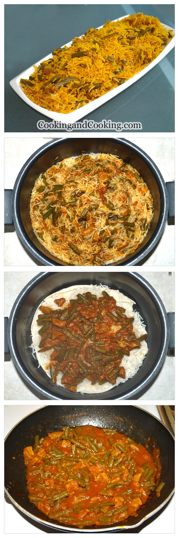 Persian Green Bean Rice Recipe, Lubia Polo