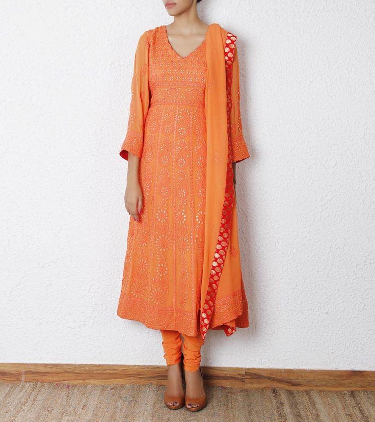 Orange Lucknowi Georgette Anarkali Suit